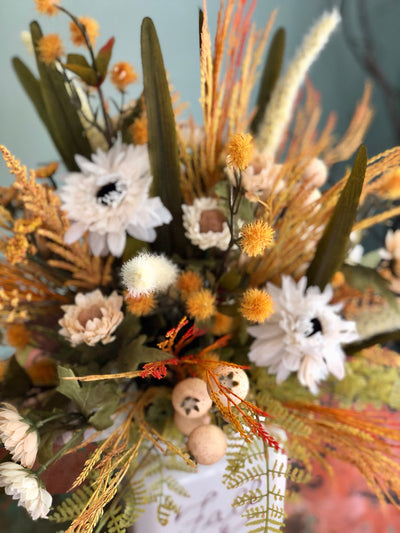The Maizy Mason Jar Cream Farmhouse Centerpiece For Table~white fall centerpiece~rustic wildflower arrangement~country harvest autumn floral