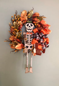 The Ichabod Primitive Style Halloween Wreath For Front Door~Orange black and gold Fall wreath~skeleton wreath~spooky wreath~whimsical