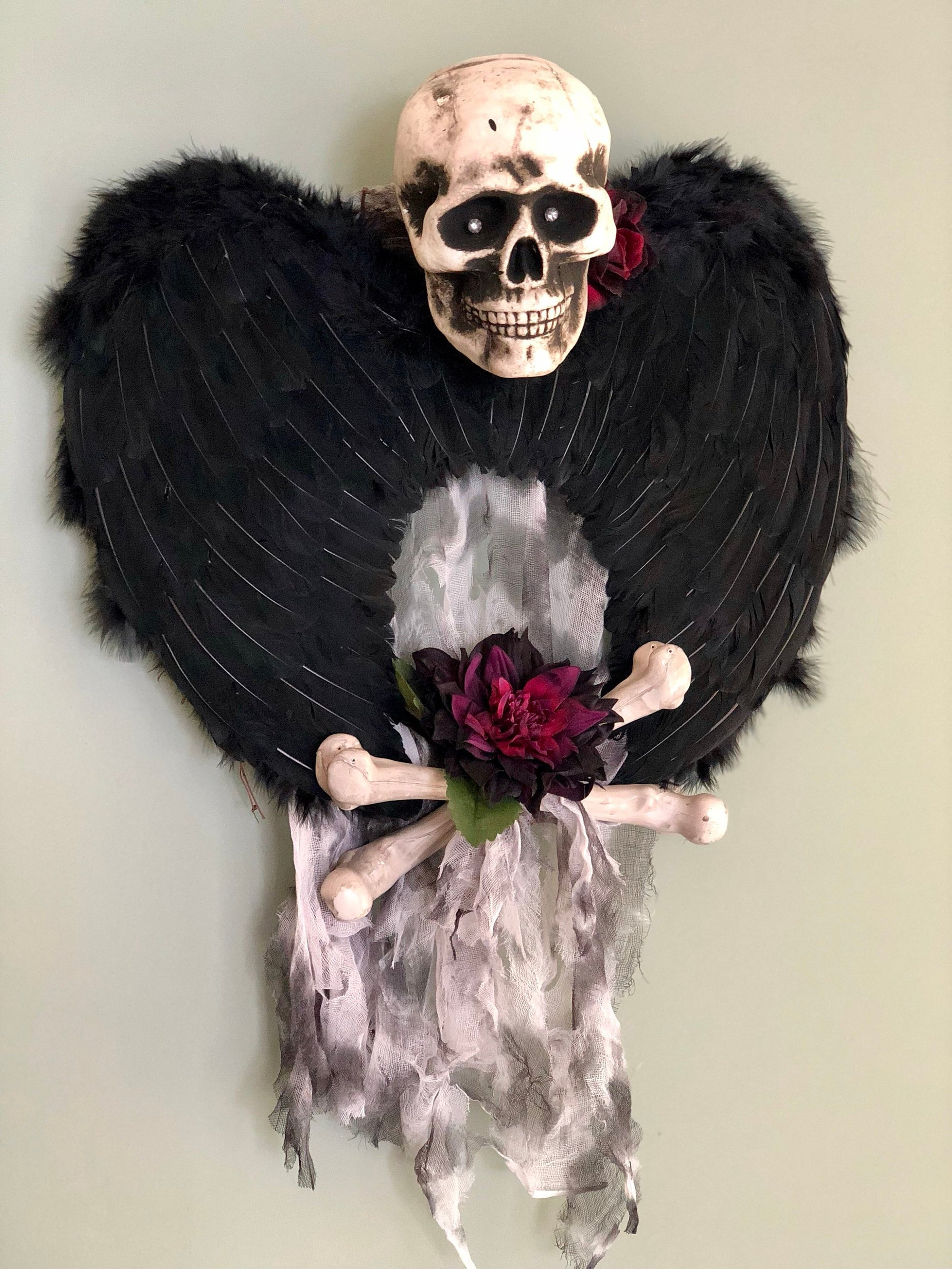 The Ozzy Angel Of Death Halloween Wreath for front door~Skull & crossbones wreath~grim reaper wreath~all hallows eve skeleton wreath~skull