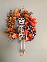 Load image into Gallery viewer, The Ichabod Primitive Style Halloween Wreath For Front Door~Orange black and gold Fall wreath~skeleton wreath~spooky wreath~whimsical