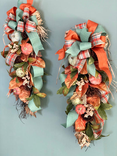 The Tess coral and green fall swag for front door~double door swag~autumn pumpkin swag~swag with bow for front door~farmhouse coastal swag