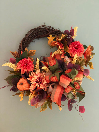The Vera Fall Pumpkin Wreath For Front Door~Autumn Wreath~pumpkin wreath~orange and copper dahlia wreath~farmhouse decor~fall decor