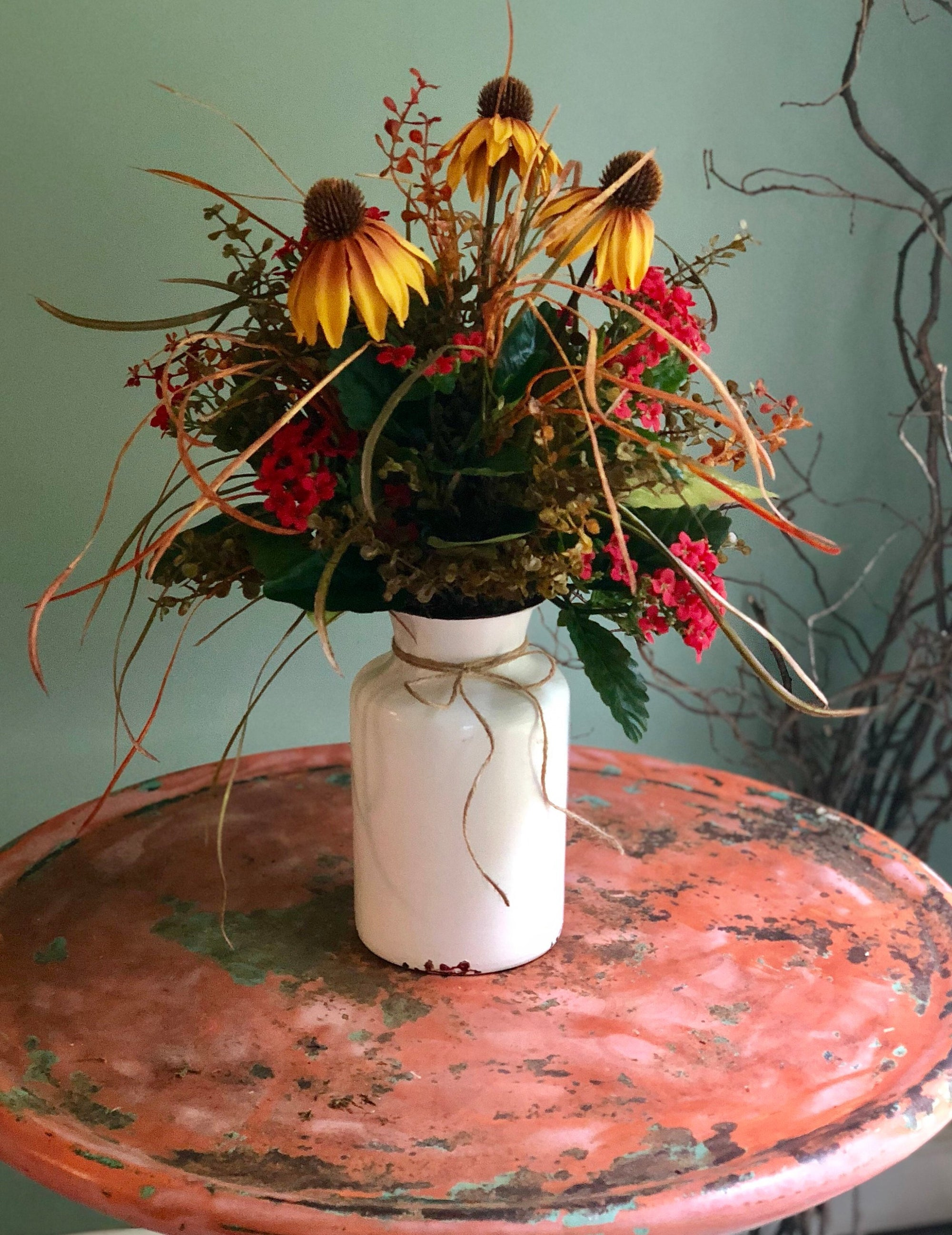 The Felicity summer centerpiece for tables~fall rustic wildflower arrangement~farmhouse vase arrangement~farmhouse decor~metal jug