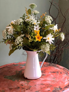 The Daisy summer vase arrangement for table~farmhouse centerpiece in metal pitcher~natural garden centerpiece~wildflower arrangement