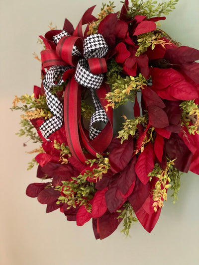 The Paige cranberry red magnolia wreath for front door- farmhouse decor-fixer upper wreath-all season wreath- summer fall wreath