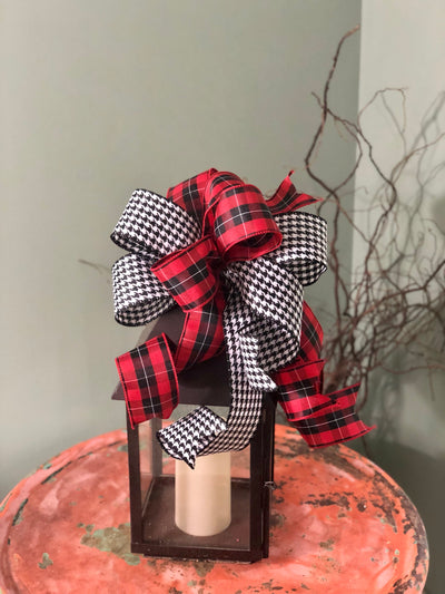The Faye red white and black wreath bow-lantern bow-farmhouse decor-summer fall bow-plaid bow-houndstooth bow-Christmas bow