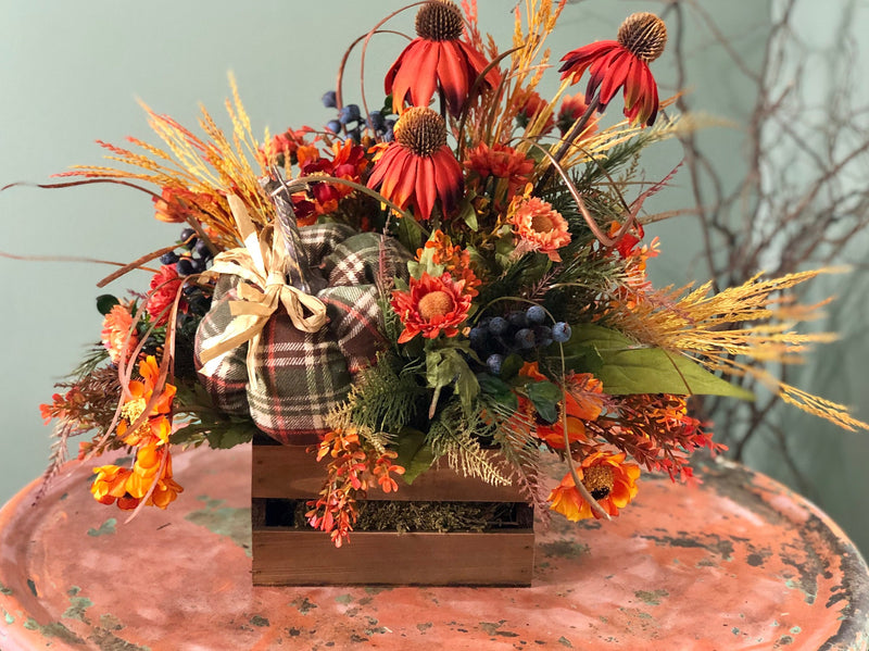 The Audrey Rustic Fall Farmhouse Centerpiece For Table~Autumn Harvest Arrangement~Dining table arrangement~Thanksgiving pumpkin floral