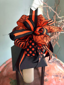 The Evanora Black and Orange Halloween Spiderweb Bow~bow for wreaths~lantern bow~mailbox bow~polka dot bow~spooky bow~creepy bow~spider bow