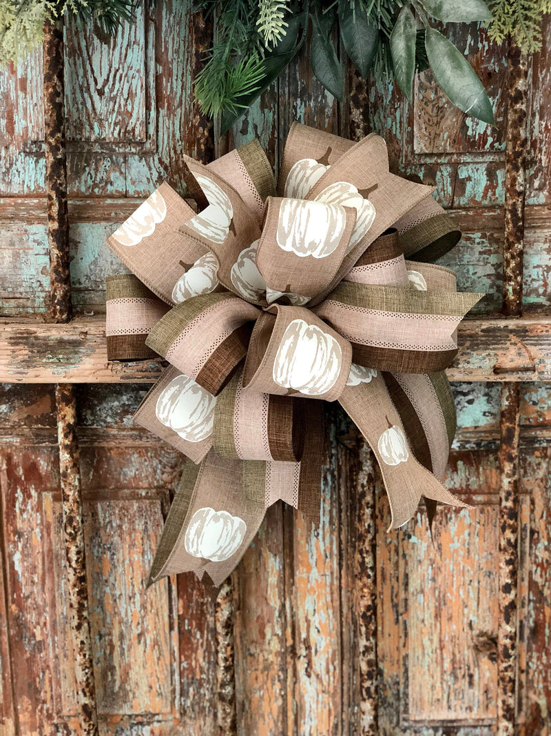 The Heather Cream Beige Green Fall Bow For Wreaths~Autumn lantern bow~mailbox bow~Fall pumpkin bow~rustic farmhouse bow~farmhouse decor