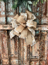 Load image into Gallery viewer, the Lucia Gold and Cream Fall Bow For Wreaths~Autumn lantern bow~mailbox bow~Fall glitter pumpkin bow~rustic farmhouse bow