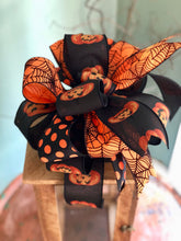 Load image into Gallery viewer, The Maleficent Black Orange Halloween Spiderweb Bow~bow for wreaths~lantern bow~mailbox bow~polka dot bow~spooky bow~creepy bow~spider bow