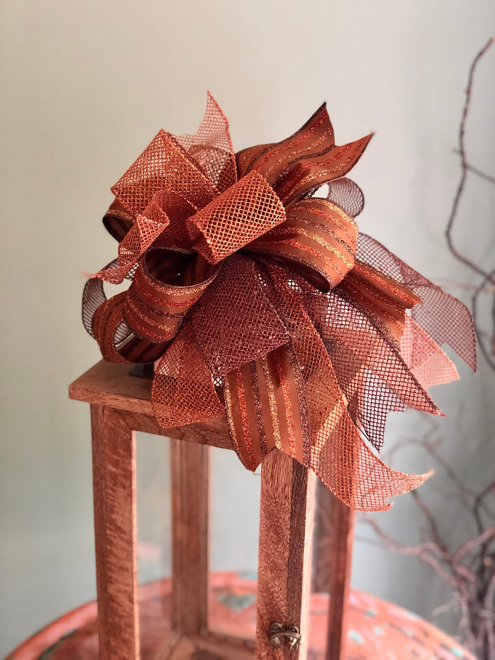 The Chloe Gold Copper Fall Bow For Wreaths~Autumn Lantern Bow~Mailbox bow~rustic farmhouse glam bow~Harvest bow with streamers