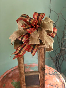 The Edith Copper Gold and Beige Fall Bow For Wreaths~Autumn lantern bow~mailbox bow~Fall plaid bow~rustic farmhouse plaid bow