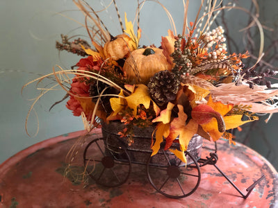 The Ilsa fall wagon arrangement for table~farmhouse harvest arrangement~kitchen table pumpkin centerpiece, rustic autumn centerpeiece