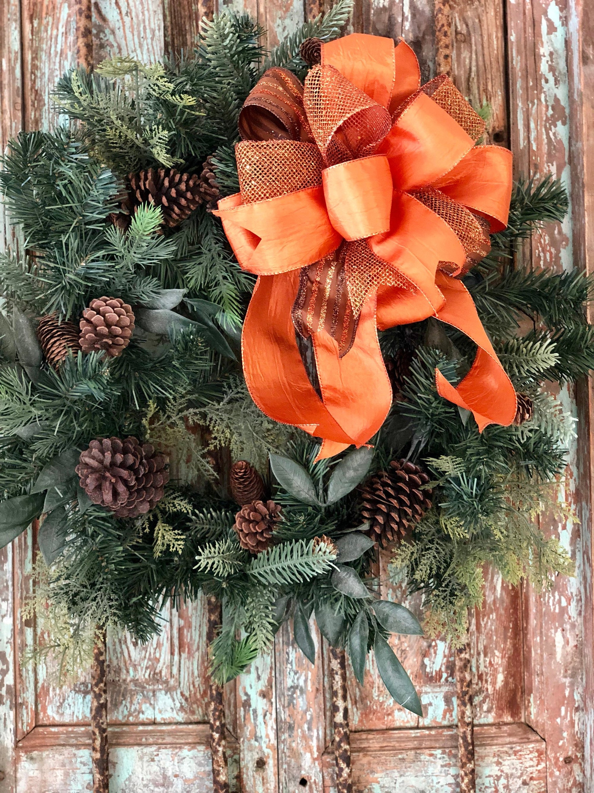 The Cora Orange & Copper Fall Bow For Wreaths~Autumn Lantern Bow~Mailbox bow~rustic farmhouse glam bow~Harvest bow with streamers