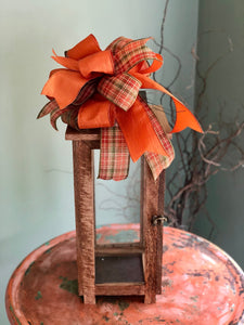 The Morgan Plaid Copper Fall Bow For Wreaths~Autumn Lantern Bow~Mailbox bow~rustic farmhouse glam bow~Harvest bow with streamers