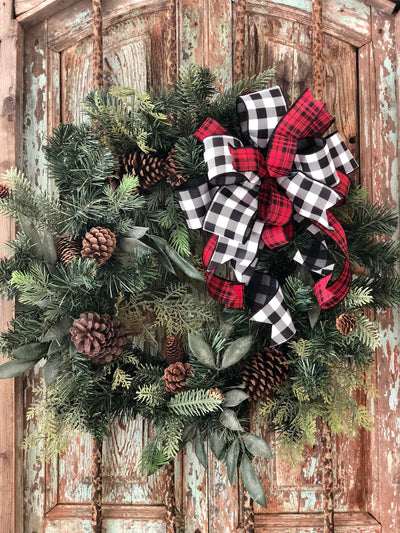 The Amelia Red and Black Buffalo Check Farmhouse Bow For Wreaths~plaid bow for lantern~swag bow~fall bow~christmas bow~rustic decor