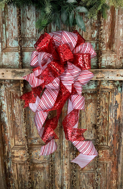 The Astrid Red & White Stripe Christmas Tree Topper Bow~Candy Cane bow~Bow for wreaths~Lantern bow~mailbox bow~swag bow~traditional red bow