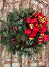The Phoebe Red & Green Plaid Christmas Bow For Wreaths~xmas bow for lanterns~mailbox bow~country bow~bow with streamers~farmhouse bow