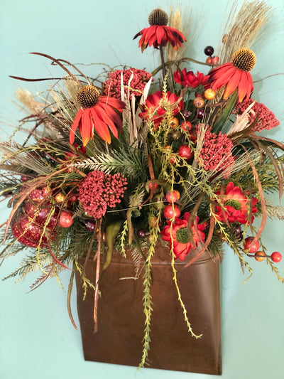 The Jacinta fall wall pocket arrangement~Fall wreath for front door~copper wall basket with cone flowers~rustic wreath~farmhouse decor
