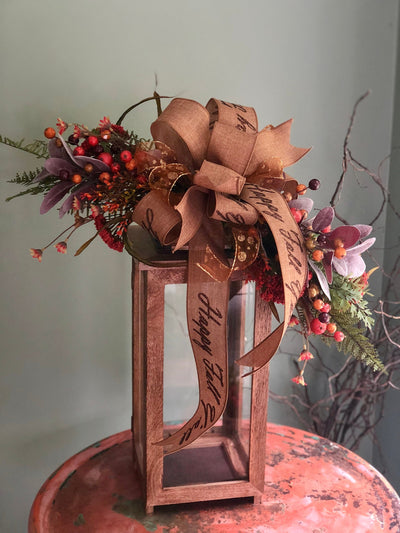 The Maria fall lantern swag~Happy fall y'all lantern swag~mailbox swag~autumn swag~copper and gold lantern swag~fall decor~rustic decor