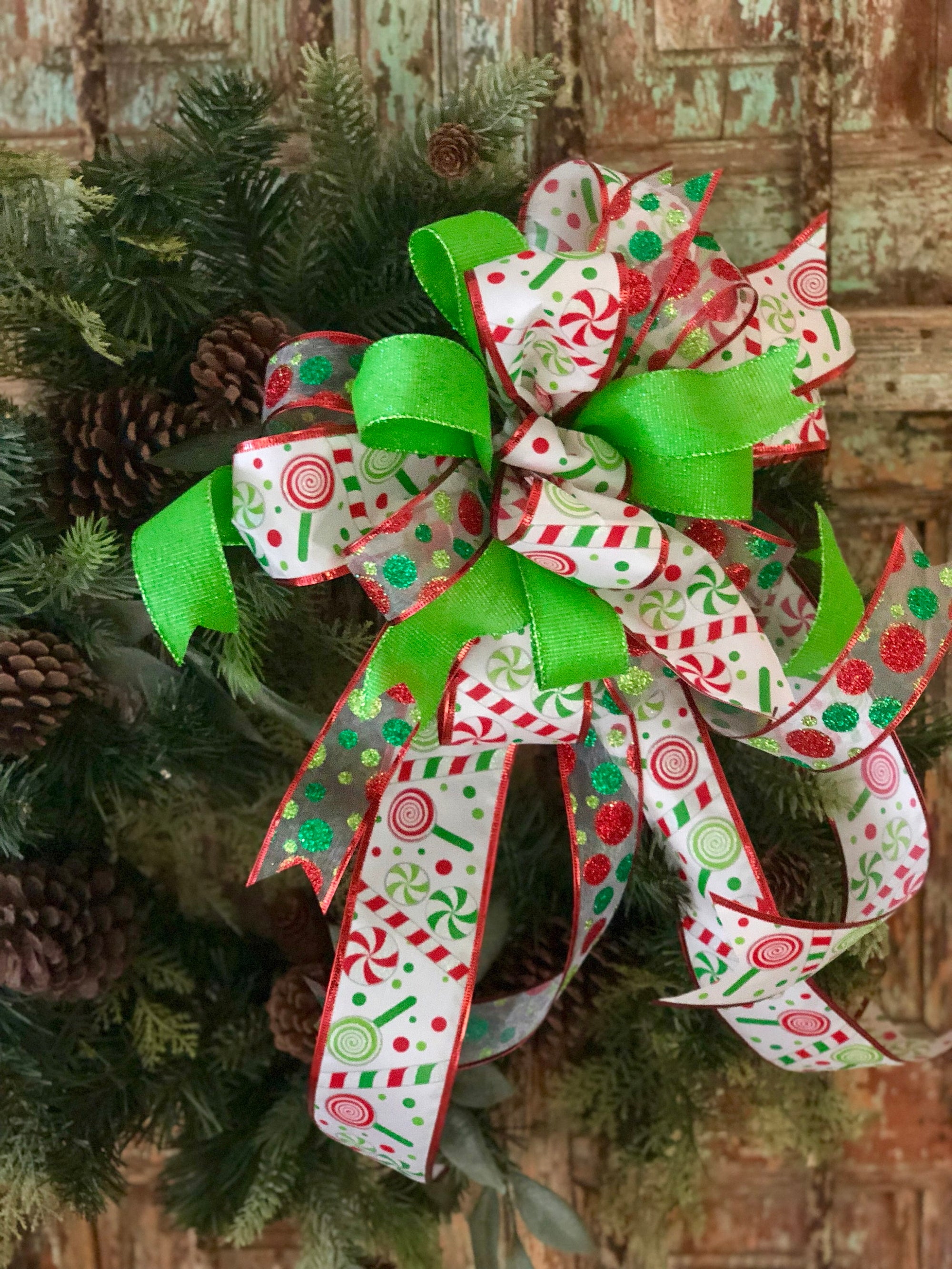 The Lucy Red White & Green Christmas Tree Topper Bow - Crested Perch