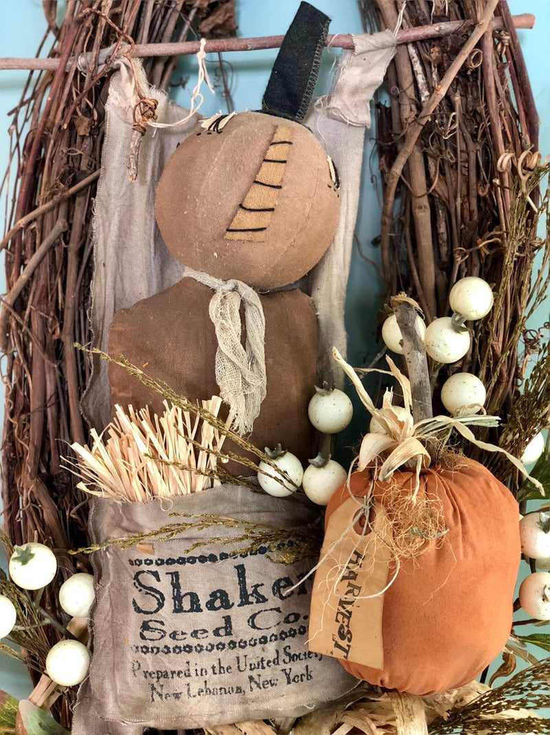 The Jackson Primitive Fall Halloween Wreath For Front Door~Americana halloween wreath~burlap pumpkin antique style fall wreath