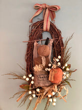 Load image into Gallery viewer, The Jackson Primitive Fall Halloween Wreath For Front Door~Americana halloween wreath~burlap pumpkin antique style fall wreath