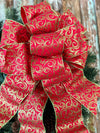 The Eris Red and Green Glitter Swirl Christmas Tree Topper Bow~bow for wreaths~XL traditional christmas bow~bow with long streamers