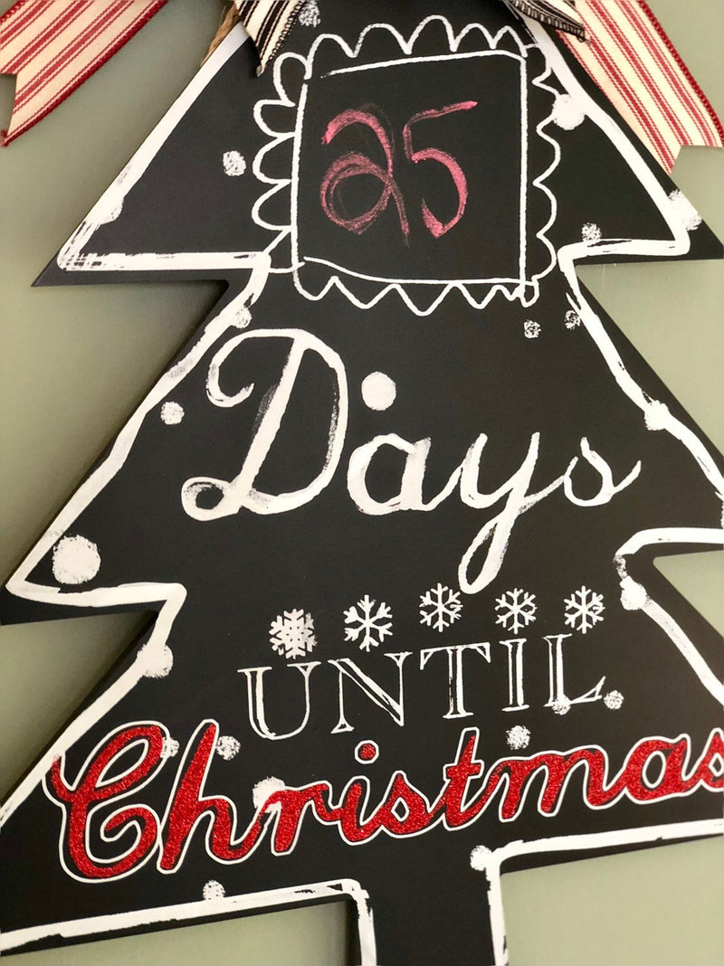 Countdown To Christmas Chalkboard Wood Door Hanger~Christmas tree door hanger~days to christmas wall plaque~christmas wreath for door