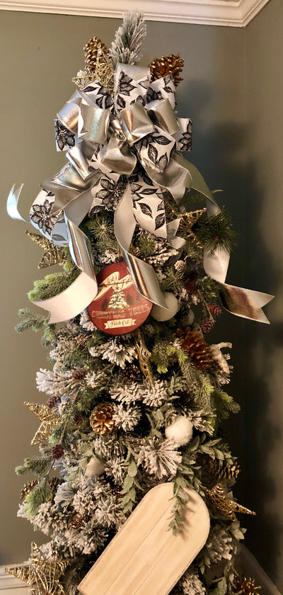 The Tori black and white Christmas tree topper bow~bow for wreaths~lantern bow~mailbox bow~christmas decor~ribbon topper~large bow streamers