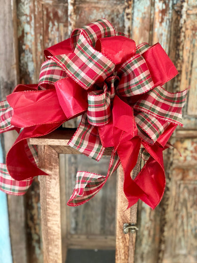 The Savanna red and green plaid Christmas tree topper bow~bow for wreaths~bow with streamers~farmhouse decor~rustic traditional bow~plaid