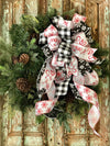 The Celine red white & black christmas tree topper bow~bow for wreaths~xmas bow for lanterns~mailbox bow~country bow~bow with streamers