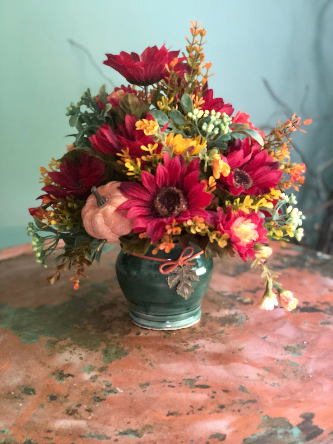 The Katrina fall centerpiece for tables~autumn arrangement~red and yellow silk floral arrangement for shelves~pumpkin fall rustic