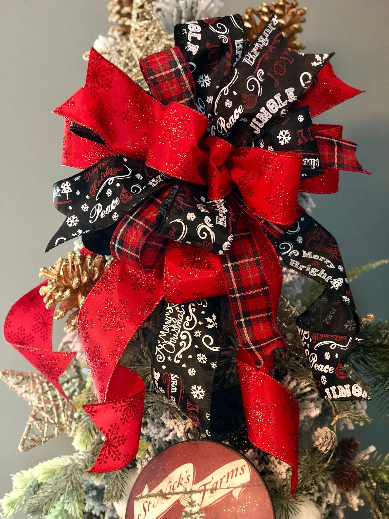 load image into gallery viewer the faith red white and black christmas tree topper bow