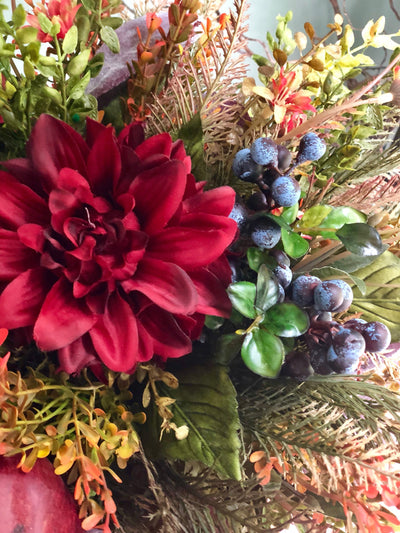 The Brooke Farmhouse Centerpiece for table~fall centerpiece~rustic burgundy and copper arrangement for kitchen table~all season centerpiece