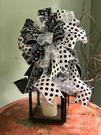 The Arianna Black White and Silver Christmas Tree Topper Bow~Bow for wreaths~mailbox bow~swag bow~christmas decor~bow with long streamers