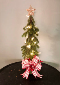 The Lenore Farmhouse Mini Christmas Tree In Tin Pot~Christmas centerpiece for table~Farmhouse decor~small rustic christmas tree in pot