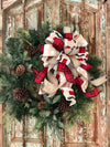 The Saint Nicholas Red White & Black Christmas Tree Topper Bow~bow for wreaths~xmas bow for lanterns~mailbox bow~bow with streamers