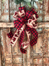 The Georgianna red and black buffalo check bow for wreaths~Christmas tree topper now~fall bow for lanterns~mailbox bow~farmhouse bow~rustic