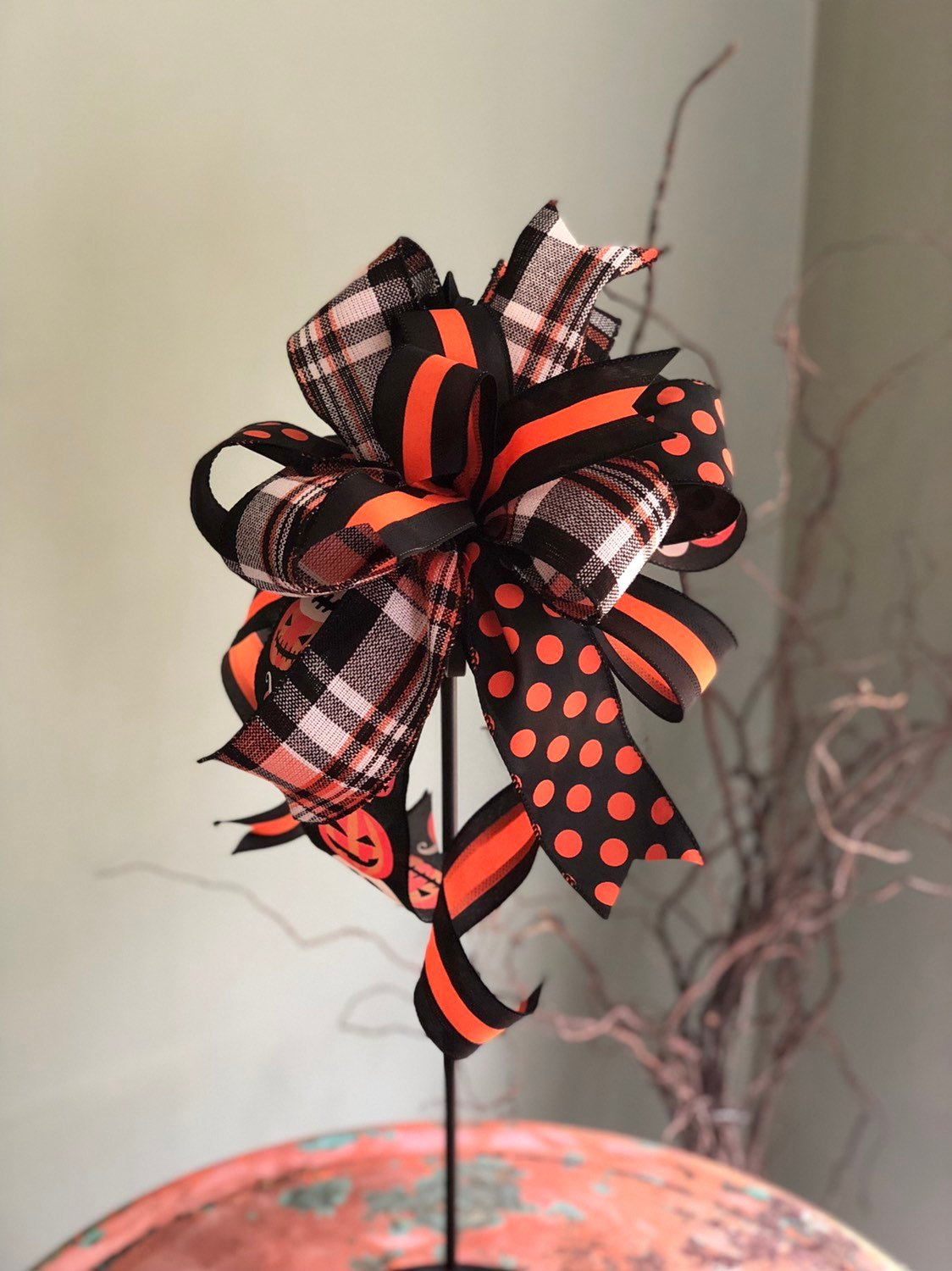 The Ondine Black and Orange Halloween Pumpkin Bow~bow for wreaths~lantern bow~mailbox bow~polka dot bow~spooky bow~creepy bow~spider bow