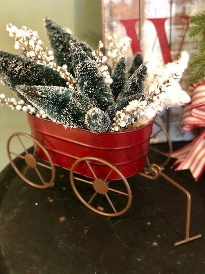 The Kristof Red & Green Christmas Centerpiece For Table~Winter farmhouse decor~Wagon with trees~cottage arrangement~Sleigh centerpiece~
