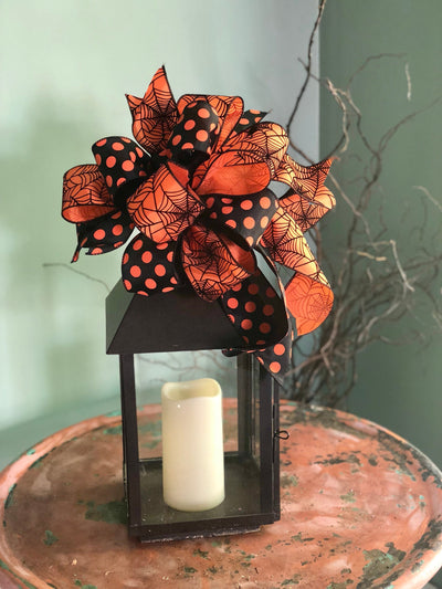 The Elvira Black and Orange Halloween Spiderweb Bow~bow for wreaths~lantern bow~mailbox bow~polka dot bow~spooky bow~creepy bow~spider bow