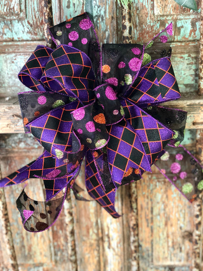 The Morticia Black Purple and Orange Halloween bow for wreaths~Lantern bow~polka dot and harlequin bow~mailbox bow~package bow