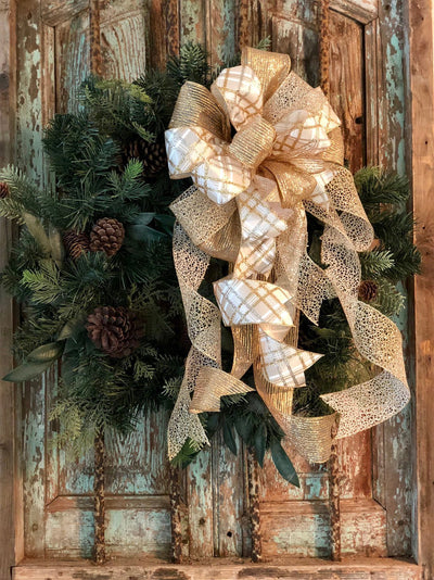 The Rebecca White & Gold Christmas Tree Topper Bow~bow for wreaths~xmas bow for lanterns~mailbox bow~bow with streamers~Large argyle bow