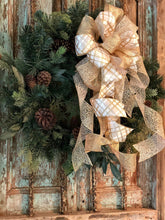 Load image into Gallery viewer, The Rebecca White & Gold Christmas Tree Topper Bow~bow for wreaths~xmas bow for lanterns~mailbox bow~bow with streamers~Large argyle bow