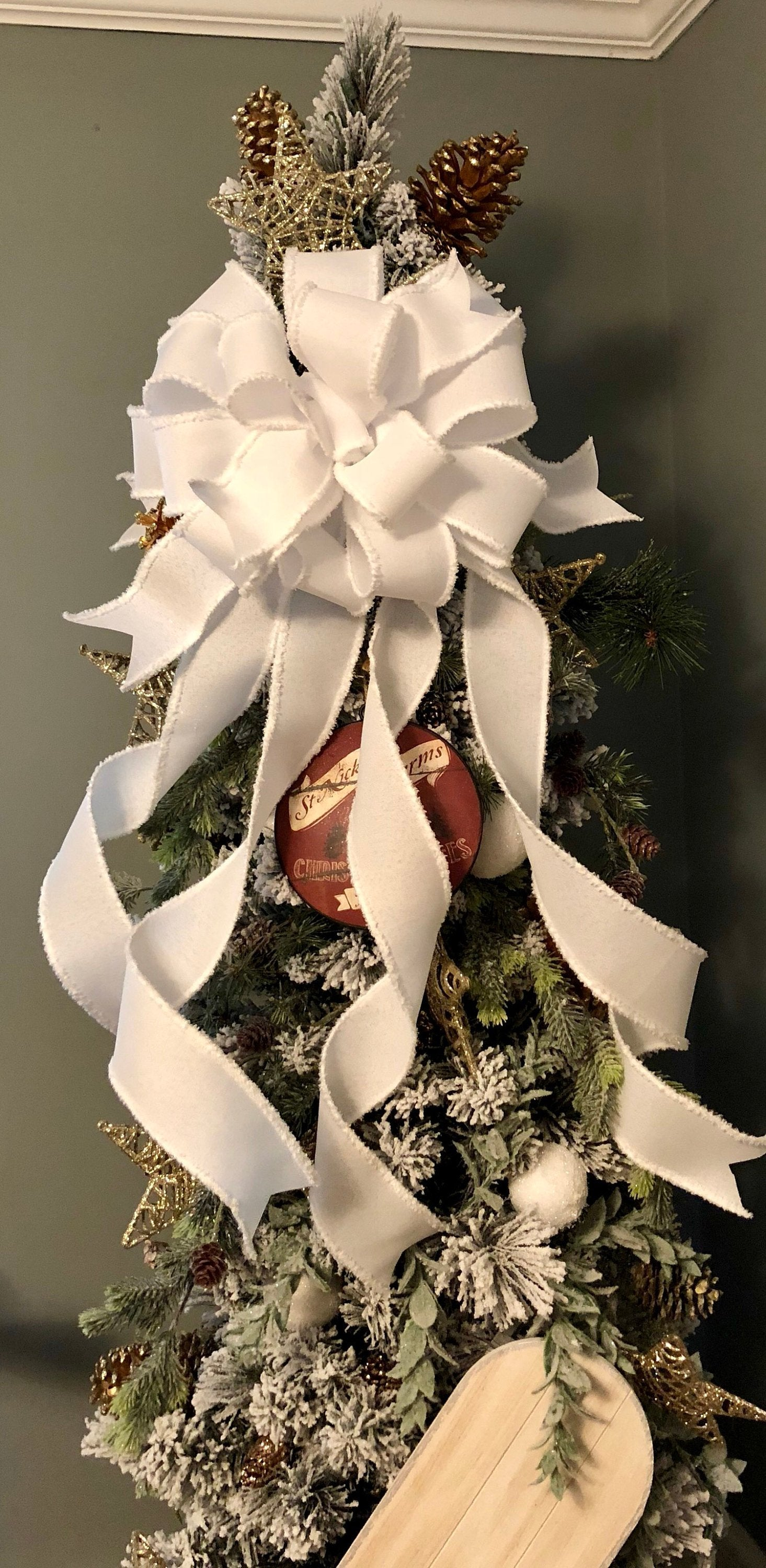 The Vanna White Oversized Christmas Tree Topper Bow~XL bow for trees~Large bow for wreaths~swag bow~elegant bow