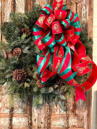 The Noel Red & Green Christmas Tree Topper Bow~Elegant bow~Bow for wreaths~Lantern bow~mailbox bow~swag bow~traditional red bow