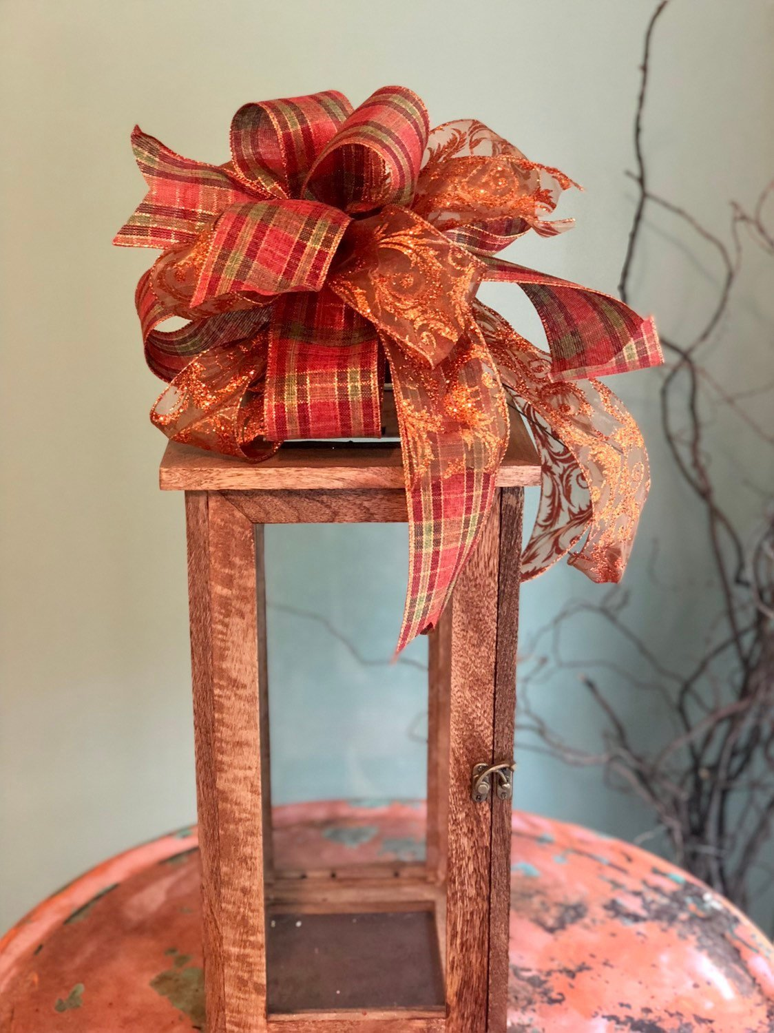 The Skylar Copper & Orange Plaid Fall Bow For Wreaths~Autumn Lantern Bow~Mailbox bow~farmhouse glam bow~Harvest plaid bow with streamers