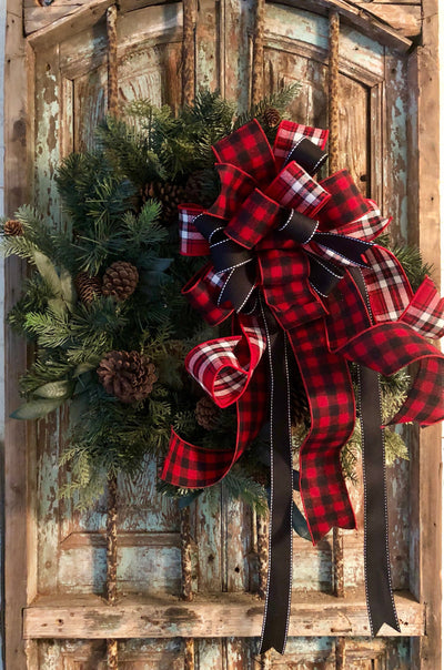 The Emerson Red White and Black Buffalo check Christmas Tree Topper Bow~rustic bow for wreaths~bow with long streamers~lodge style bow